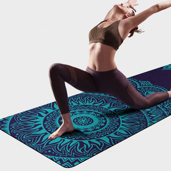 Custom Printed Rubber Yoga Mat Foldable Fabric Suede Microfiber Yoga Mat