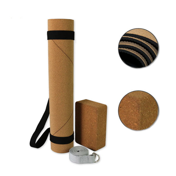 Eco Friendly Premium All Natrual Rubber Base Cork Yoga Mat